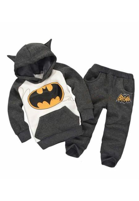 Batman Print Hoodie and Pants Kids Clothing Set