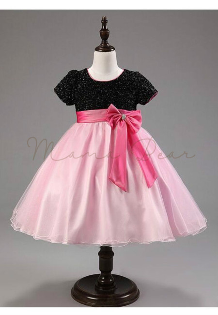 Sparkling Bowtie Kids Party Dress