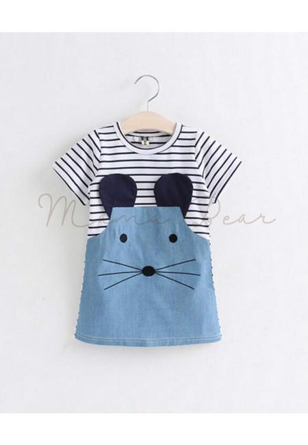 Little Mouse Patterned Shortsleeve Kids Dress