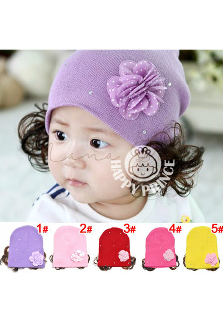 Kawaii Beanie with Flower and Synthetic Hair