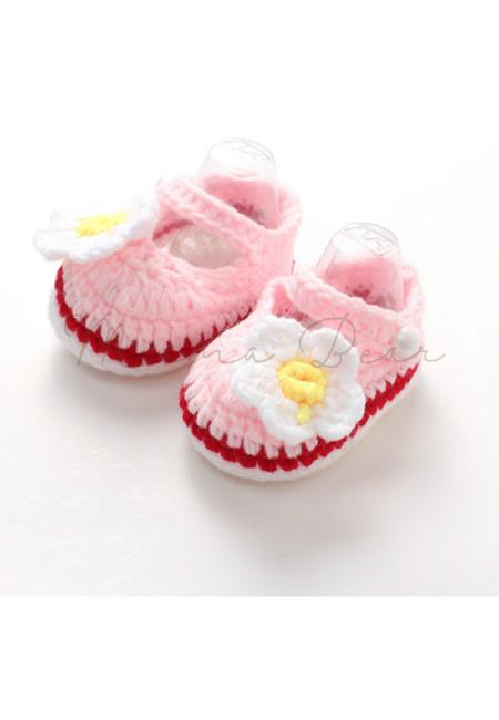 Cute Flower Baby Crochet Shoes