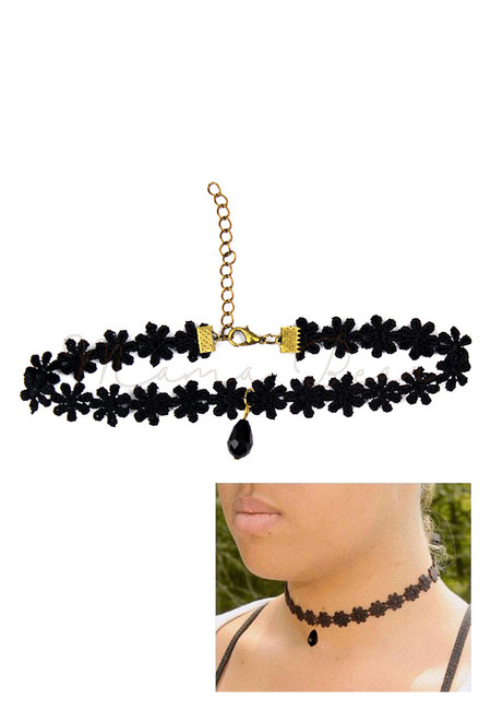Black Crystal Floral Kids Choker
