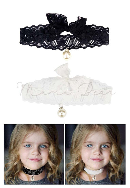 Adult and Kid Floral Lace Pearl Choker