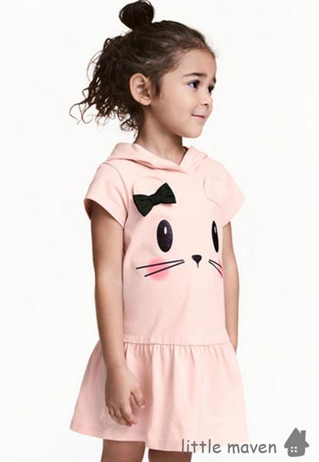 Little Maven Cat Face Print Hooded Kids Dress