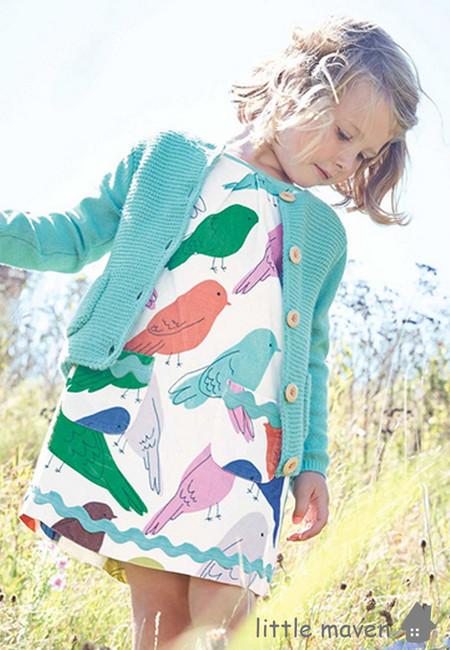 Little Maven Colorful Birds Print Kids Dress