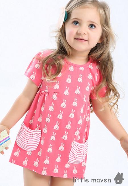 Little Maven Bunny Print Kids Dress