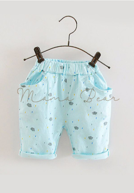 Clouds And Raindrops Pattern Kids Pants