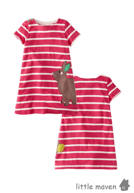 Little Maven Rabbit Stripe Kids Dress