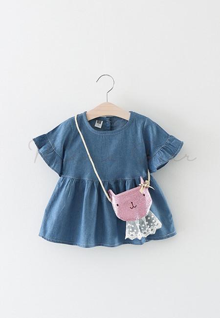 Denim Peplum Sleeve Dress With Sling Bag