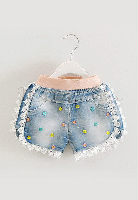 Embroidered Flower With Lace Kids Denim Shorts