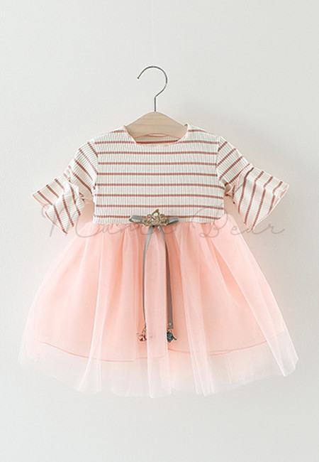 Shortsleeve Stripe Dress with Ribbon