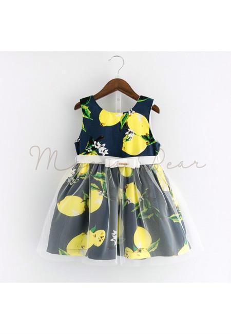 Lemon Print with Ribbon Sleeveless Dress