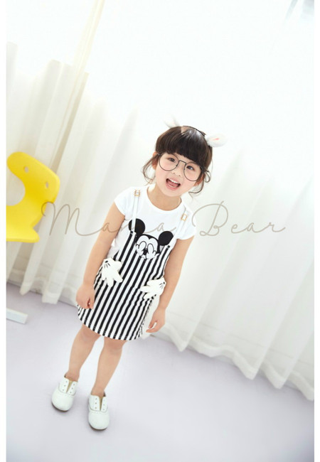 Mickey and Stripes Shortsleeve Dress