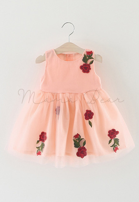 Embroidered Rose Print with Ribbon Sleeveless Dress