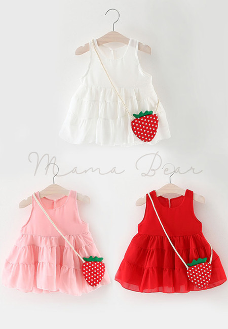 Frilled Baptismal Sleeveless Dress with Strawberry Sling