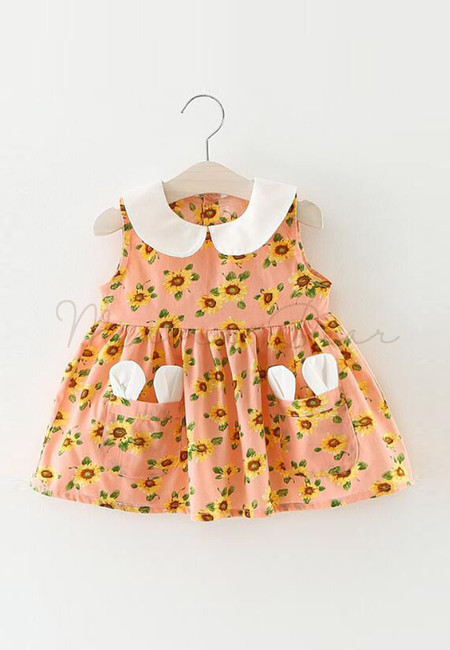 Sunflower Collared Print with Bunny Ear Pocket Sleeveless Dress
