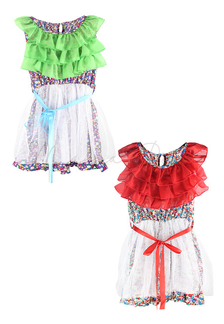 Ruffled Floral Kids Dress