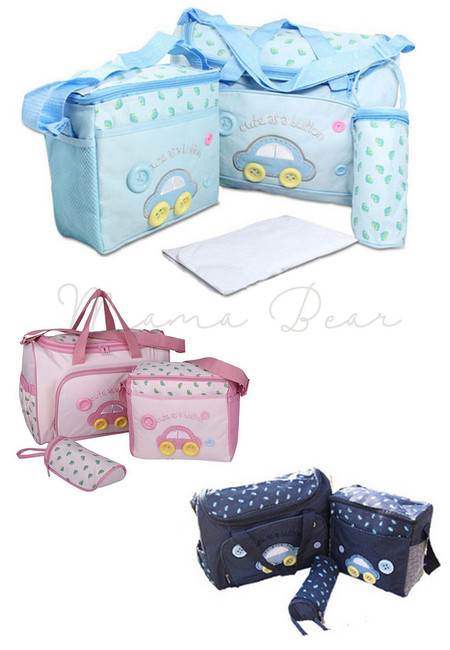 4 in 1 Multifunction Car Print Nappy Diaper Bag Set