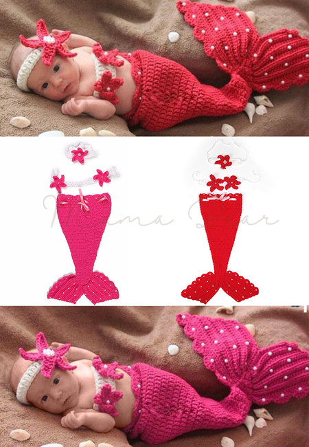 Little Mermaid Knitted Crochet Baby Costume Set