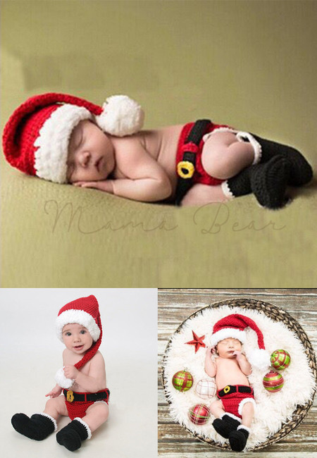 Santa Claus Knitted Crochet Baby Costume Set
