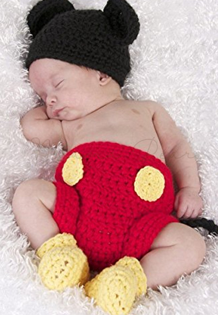 Mickey Mouse Knitted Crochet Baby Costume Set