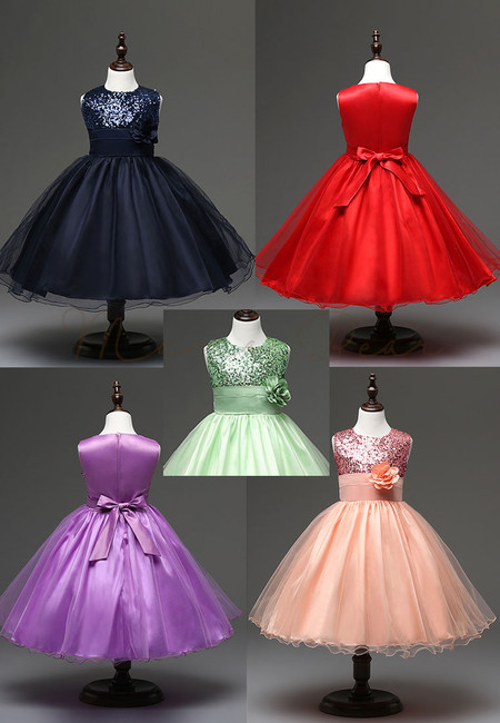 Floral Sequins with Ribbon Ball Gown Party Dress