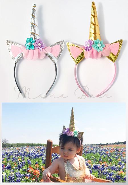 Unicorn Horn Glittery Ears Kids Headband