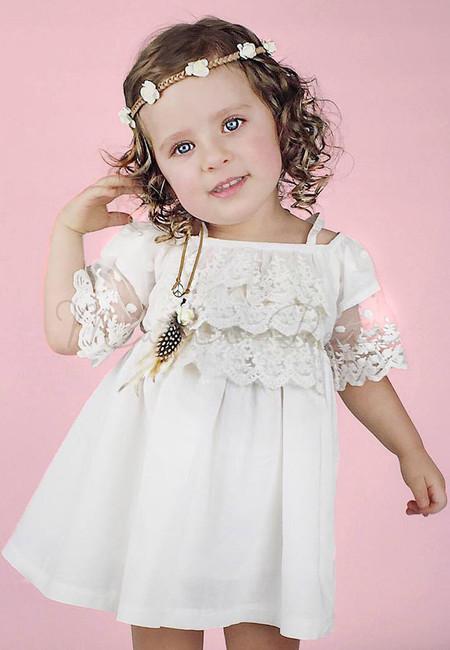 Semi Off Shoulder Floral Lace Kids Dress
