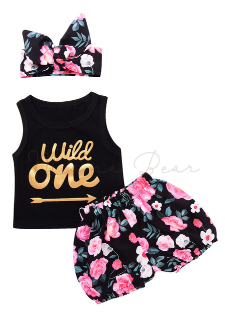 Wild One Floral Print Baby Clothing Set