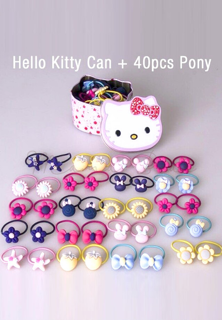 Hello Kitty 40pcs Pony Tail Set with Case