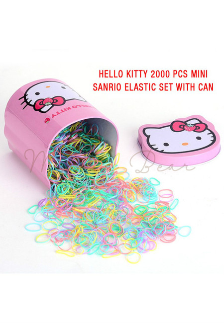 2000pcs Hello Kitty Sanrio Hair Tie Set with Can