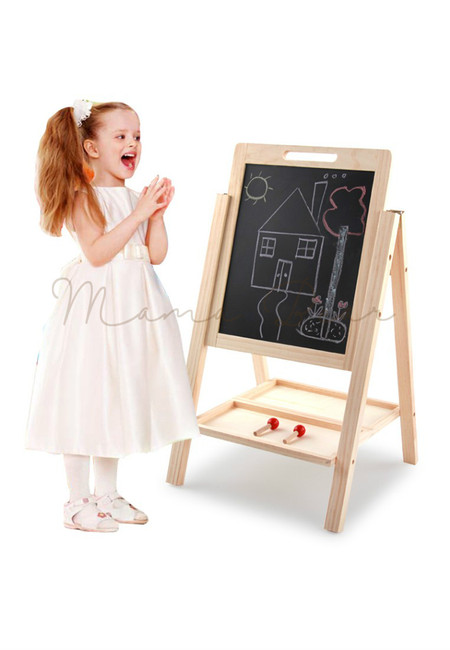 Children Chalk Board Double Sided Wooden Easel for Writing Drawing
