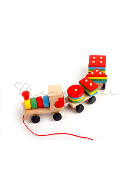 Wooden Train Colored Building Blocks Educational Pull And Push Toy