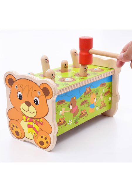 Kids Toddler Toy Wooden Hammer Bear Whac A Mole Game