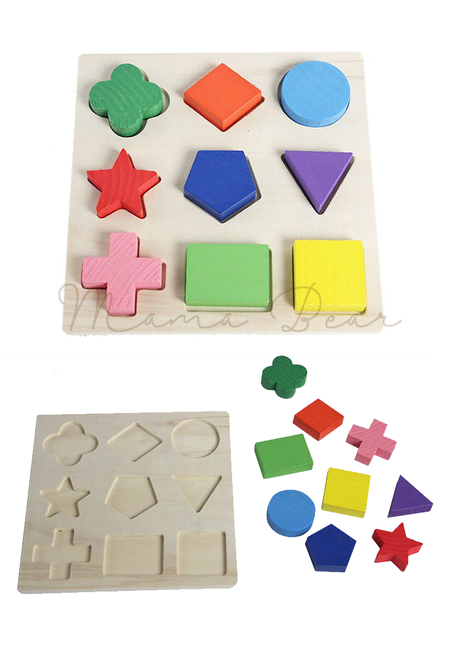 Children Shapes Puzzle Toy Wooden Educational Building Blocks