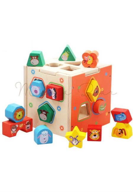 Children Animal Shapes Wooden Puzzle Box Matching Toy