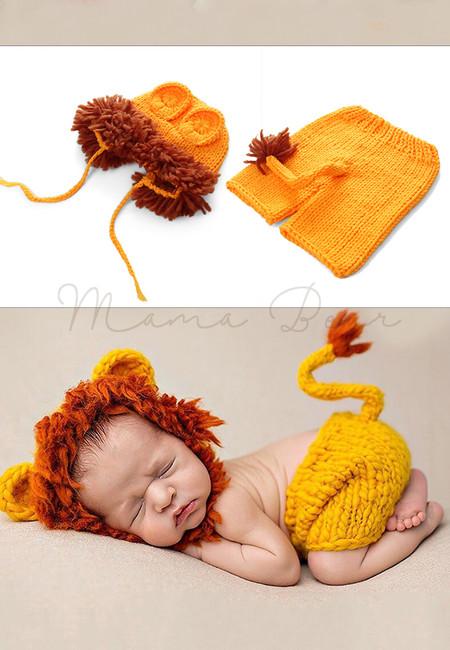 Baby Crochet Woolen Photography Costumes Lion Animal Newborn