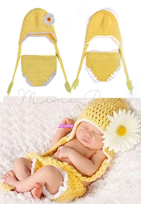 Crochet Daisy Flower Newborn Baby Costume Hat Shorts Set Infant Outfits