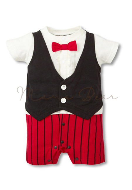 Formal Gentlemen with Bowtie Baby Romper