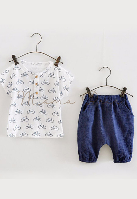 Bicycle Print Kids Top And Pants Set