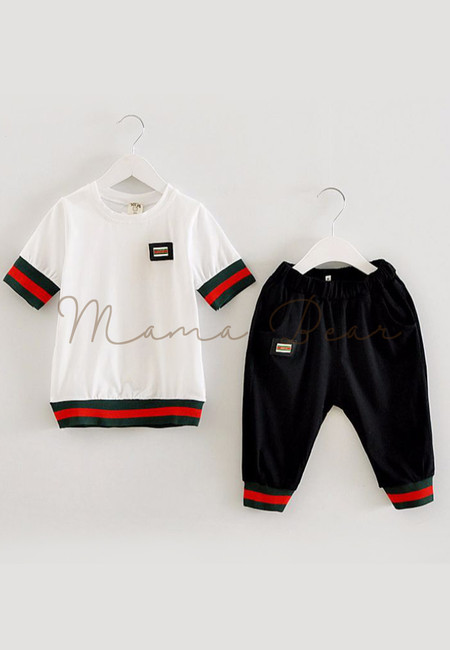 Casual Simple Stripes Kids Top And Pants Set