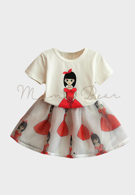 Girl in Red Printed Kids Top and Skirt Set