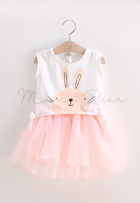 Cute Sleeveless Rabbit Kids Top and Skirt Set