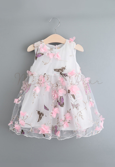 Butterfly Printed with Floral Accent Kids Dress
