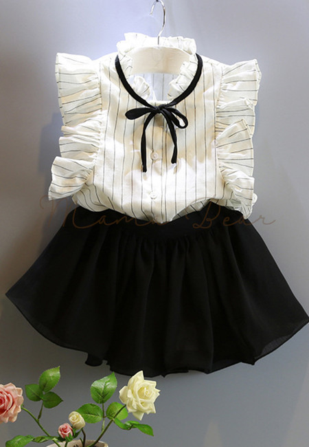 Vertical Stripes with Ribbon Kids Top and Skort Set