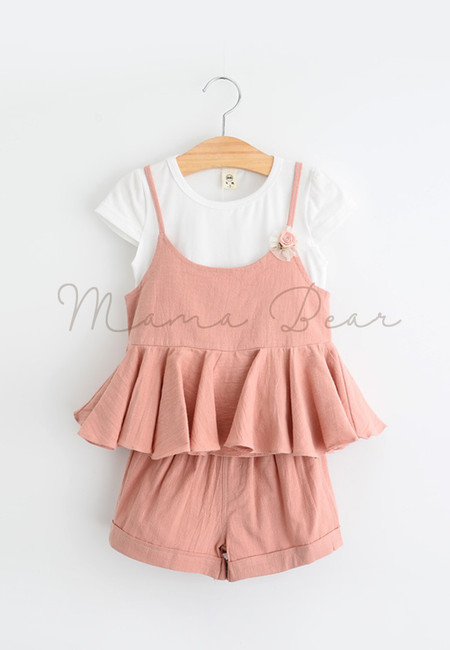 Pleated Spaghetti Strapped Kids Top and Shorts Set