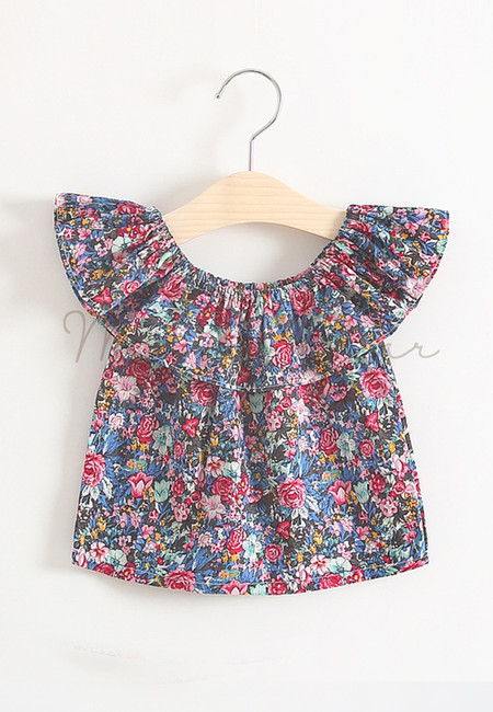 Off Shoulder Lovely Floral Print Kids Top