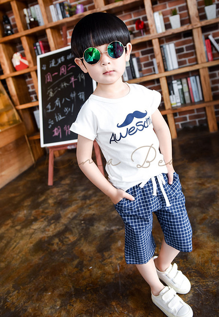 Awesome Mustache Print Kids Top & Shorts Set