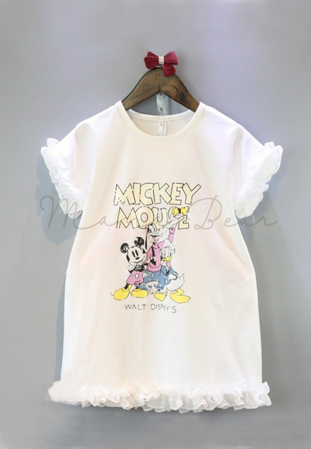 Mickey Print with Frills Kids Dress