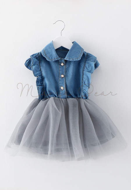 Kids Denim Dress With Collar